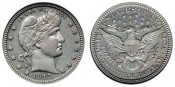 US Silver Coin Melt Values (such as for this Barber Quarter) Fell 2.5% This Week