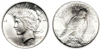 Silver Coins, such as this 1922 Peace Dollar, lost over 8% in November