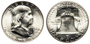 Silver Coin Melt Values (such as for this 1954 Franklin Half Dollar) were down in March, but  gained for the quarter