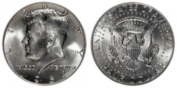 Melt values of US Silver Coins, such as this 1964 Kennedy Half Dollar, rose 4.7% this week