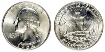 US Silver Coin Melt Values, such as for this 1964 Washington Quarter, rose 2.4% this week