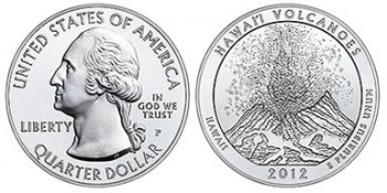 2012-P Hawaii Volcanoes Five Ounce Silver Uncirculated Coin